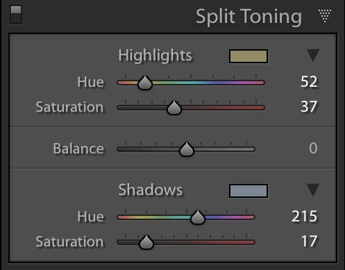 image showing the split toning panel in lightroom
