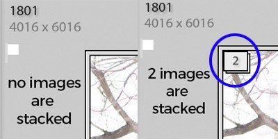 image showing stacking icon in Lightroom
