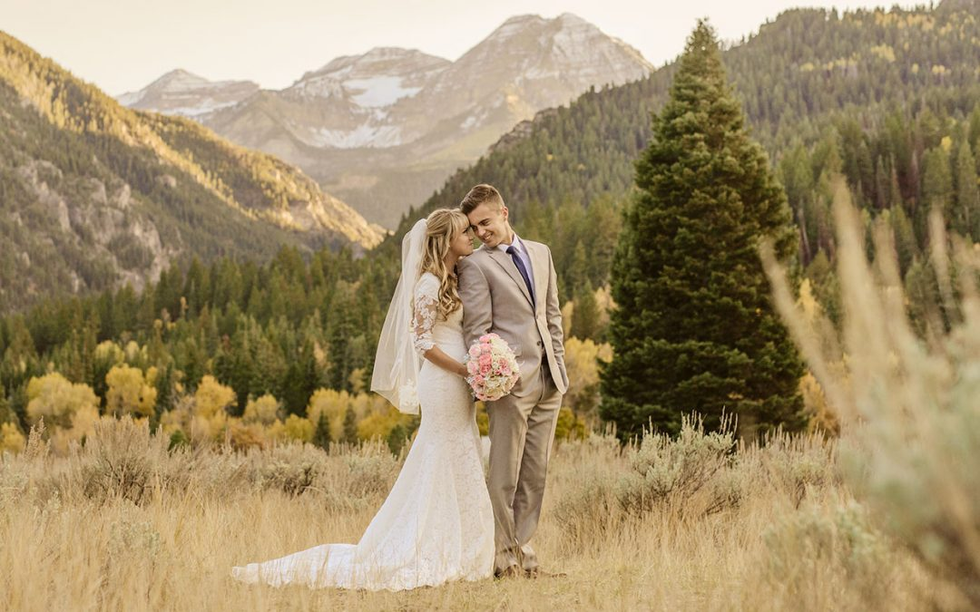 image of a bride and groom in the mountains