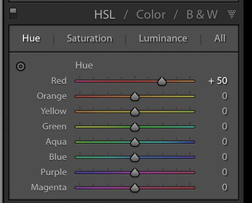 Image showing the hue tab of the HSL panel in Lightroom Classic CC.