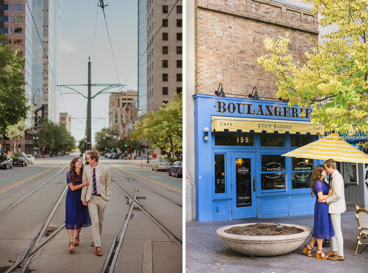 Two engagement images of a couple walking down the street and chatting in front of a bakery.
