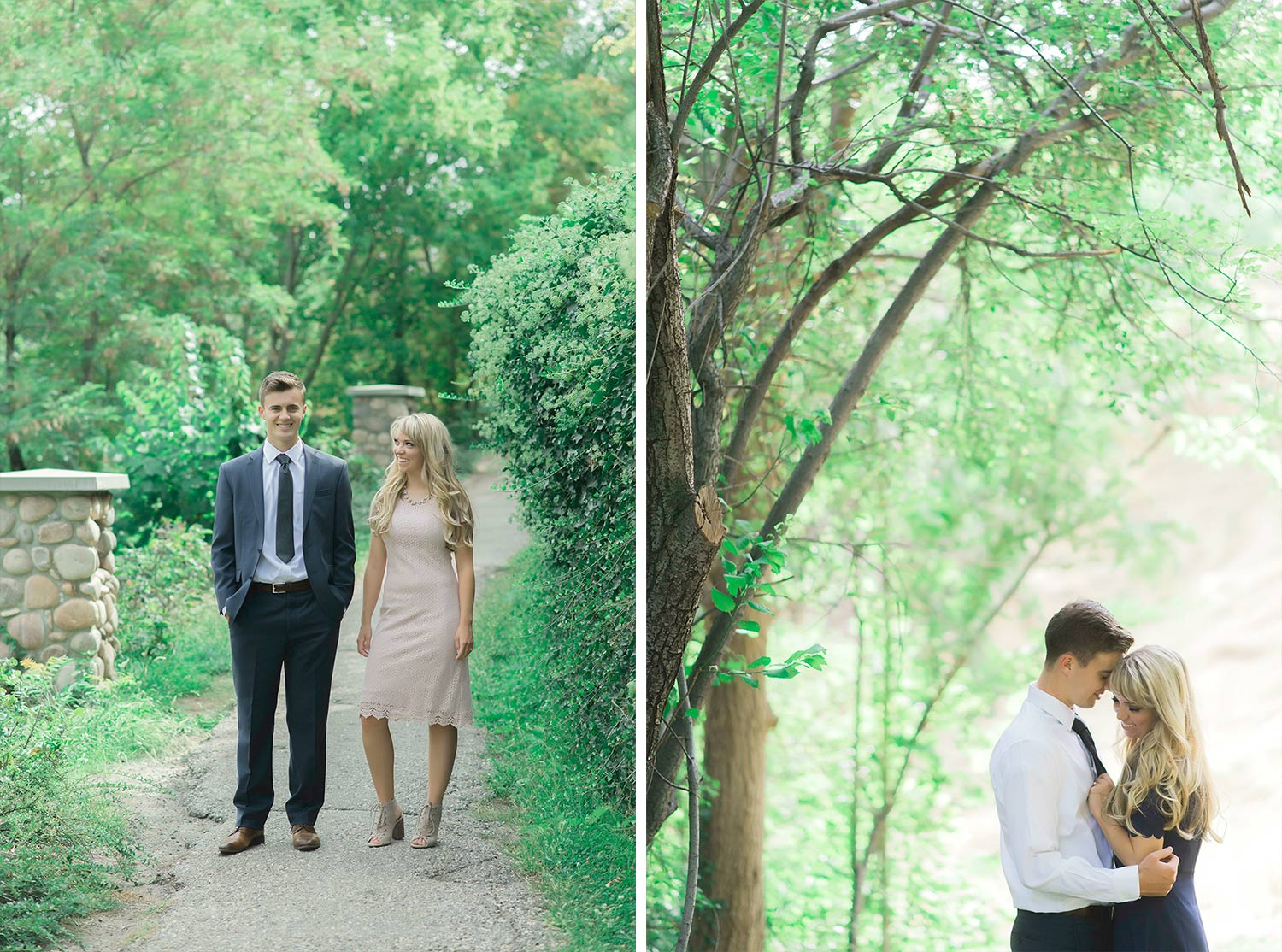 Two engagement images of a couple, one of them standing on a path with her looking at him and the other with their foreheads touching.