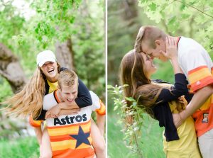 Two engagement images one with the couple being playful and one with them with foreheads touching.