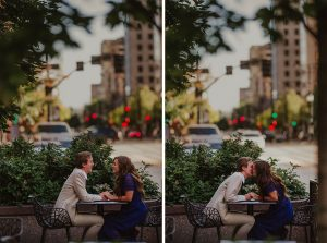Two engagement images, both of a couple sitting at a street cafe table, one laughing together and the other kissing.