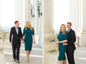 Two engagement photos, one of a couple walking and chatting and the other looking at the camera and smiling.
