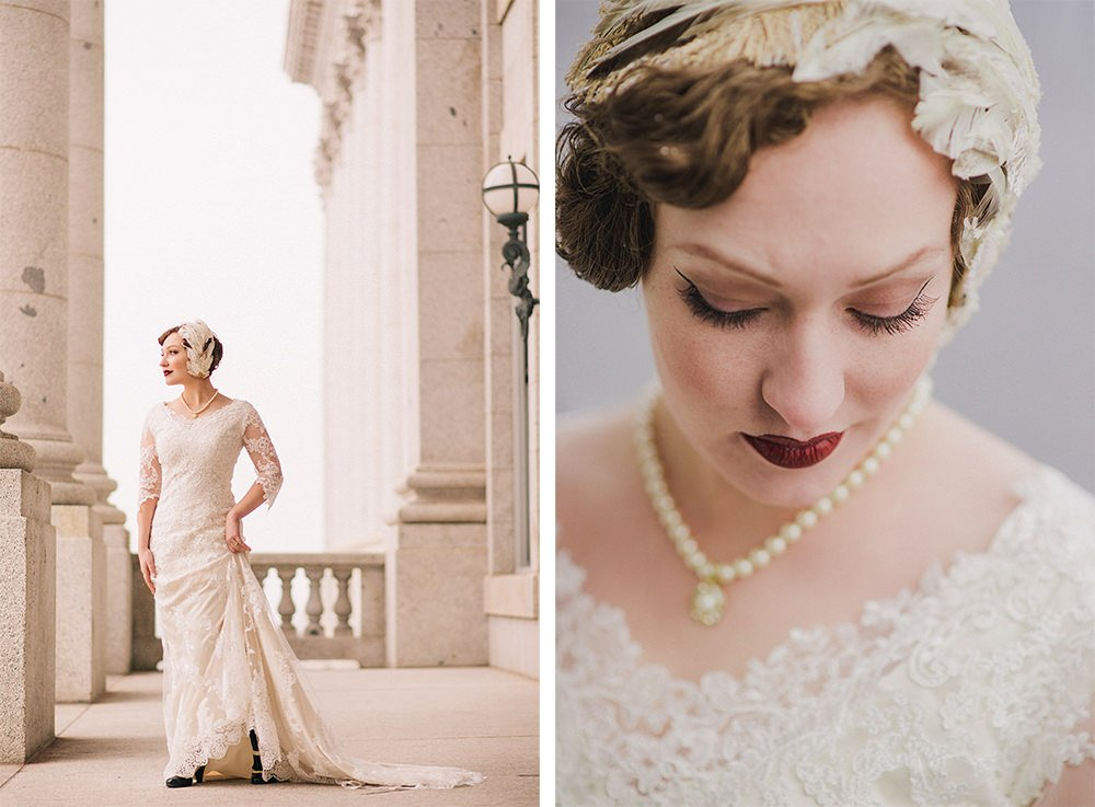 Images of a bride with columns shot with a Nikon 85mm 1.8 prime lens.